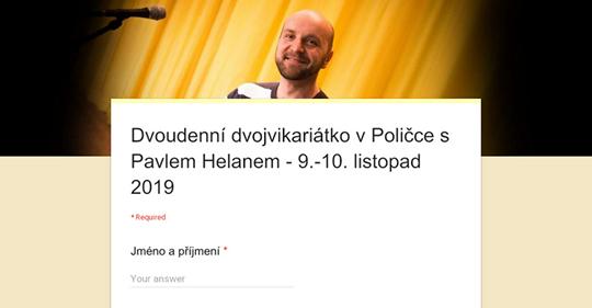 Pozvánka - Dvoudenní dvojvikariátko v Poličce s Pavlem Helanem - 9.-10. listopad 2019