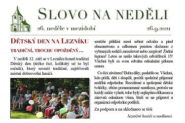 SLOVO NA NEDĚLI 26. 9. 2021