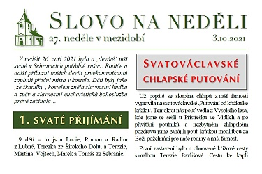 SLOVO NA NEDĚLI 3. 10. 2021